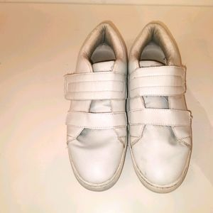 Benetton s42 solid white velcro sneakers